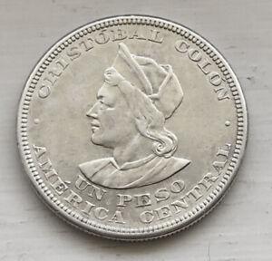 1911 El Salvador UN PESO - SILVER - AU - Beauty!