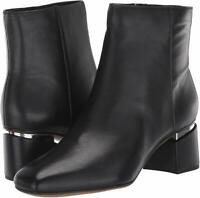 Franco Sarto Womens Marquee Leather Square Toe Ankle, Black Leather, Size  BP1U
