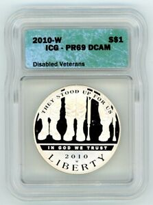 2010 W Disabled Veterans Silver Commemorative Dollar PR69 Proof DCAM Charity