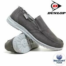 MENS DUNLOP MEMORY FOAM GREY CANVAS CASUAL LOAFERS DRIVING DECK SHOES UK 8-12