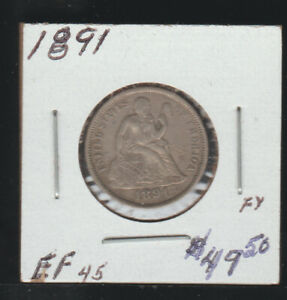 1891 Seated Liberty Dime, EF
