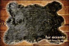 FUR ACCENTS Wolf Rug Black Tip Timber Wolf 5' x 7'