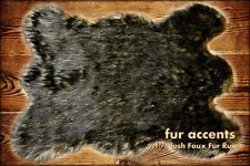 FUR ACCENTS Wolf Rug Black Tip Timber Wolf 3' x 5'