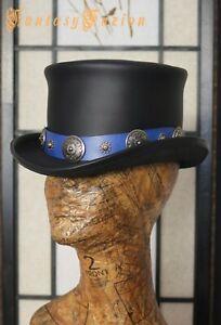Desperado Leather Hat / Western Hatband / Rock n Roll Top Hat / Steampunk Hat