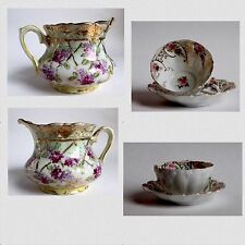 Antique Nippon Noritake Gold Moriage Creamer & Tea Cup Set Violets