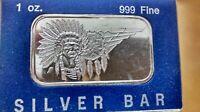 VINTAGE 1 oz .999 Fine Silver Art Bar War Chief