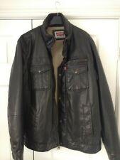 Dark Brown Levi's Men's Faux-Leather Trucker Jacket with Sherpa Lining Size L