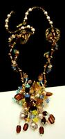 Rare Vintage Signed Miriam Haskell Amber Glass Blue Crystal Pearl Necklace A59