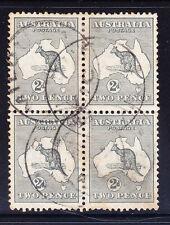 AUSTRALIA 1913 SG3 2d grey wmk 2 block of4 f/u fold centre perfs c£26 as singles