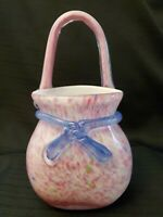 Beautiful Vintage Pink Confetti Pattern Murano Style Art Glass Purse Vase