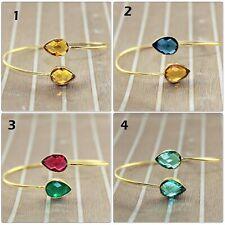 Gemstone Gold Plated Adjustable Bangle Bracelet Handmade Womens Jewelry