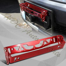 JDM Red Aluminum Bumper Adjustable Tilt License Plate Bracket Kit Universal 4