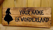 Personalised Name Alice in Wonderland Man Cave Shed Door Sign Plaque Plate Gift