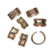Lot 6 COPPER Brass FINGER RINGS Med-Large Size 9-11 All Different MIX Designs