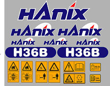 Hanix h36b Escavatore COMPLETO ADESIVO DECALCOMANIA Set con Safety AVVERTIMENTO