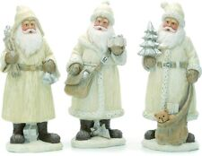 Christmas Festive Ornaments Set of 3 Santa Cream Finish Figurines
