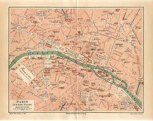 1887 FRANCE PARIS CITY PLAN Antique Map