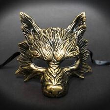 Wolf Animal Masquerade Mask, Men's Masquerade Mask, Halloween Gold Mask