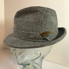 Vtg Dobbs Fifth Avenue Fedora Hat Feather Gray Tweed 7 1/8 New York Union Made