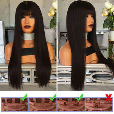 Women Long Straight Hairs With Fringe Heat Wigs Cosplay Full Wig Fancy Party Wig