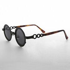 60s Retro Circle Sunglass with Chain Bridge Black & Gray Lens -Link