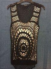 Women's Ivory/Black Netting Designer Tank Top Size Medium