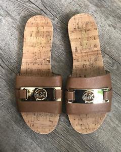 Michael kors signature logo brown Women's shoes flats slides size 8.5 M new
