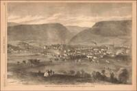 CUMBERLAND, MARYLAND, TOWN VIEW, antique engraving original 1866