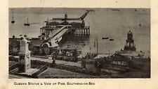 SOUTHEND-ON-SEA Essex Queen's Statue & View of Pier 1911 Original Postcard (86P)