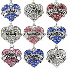 Family Gift Rhinestone Crystal Heart Friend Special Words Charm Pendant Necklace