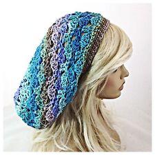 NEW Handmade Women's SLOUCHY Baggie BEANIE HAT Blue Purple Green MOSAIC AMBROSIA