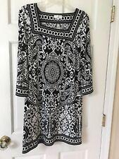 Ann Taylor Loft women polyester blend black & white 3/4 sleeve tunic dress sz S