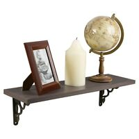 Wooden Oak Wall Mounted Shelf with Bronze Brackets Classic Elegant Display Rack