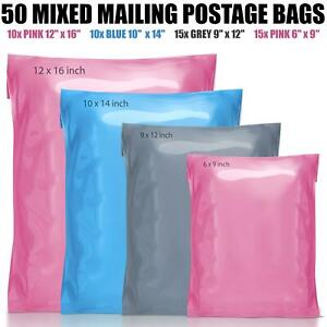 50 Mixed Mailing Postage Parcel  Poly Plastic Bags Grey Pink Blue in 4 Sizes