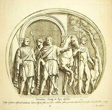 Préparatifs de Chasse à courre Before hunting XVII gravure François Perrier 1645