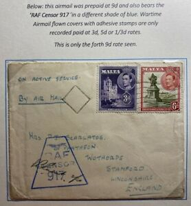 1942 Malta RAF Censored On Active Service Cover To Stamford England