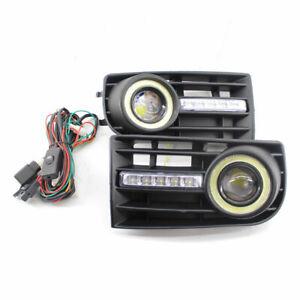 2x LED Front Angel Eyes Fog Lights Lamp+ Grille For VW Golf Rabbit MK5 2005-2009