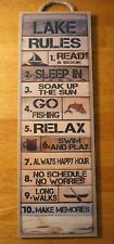 Lake House Rules Sign Cabin Lodge Canoe Boat Fishing Home Rustic Wood Decor NEW