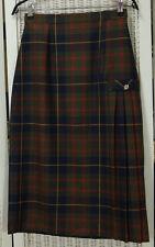 """BORDER-KILTS Vintage Wool Tartan Kilt 27"""" Waist Plaid Long Skirt Pleated at Hip"""