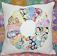 NEW Throw Pillow Made From Vintage 1930's Handmade Dresden Plate Quilt DP14-F