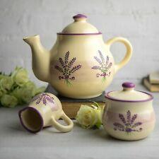 Handmade Lavender Floral Purple & Cream Ceramic Large Teapot Set Pottery Tea Set