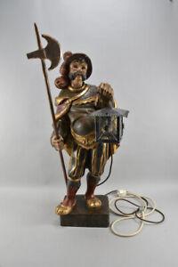 h14o66- Grosse Figur Nachtwächter Holz geschnitzt & gefasst 20.Jh.