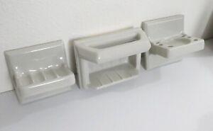 NOS Vintage Sun Japan Ceramic Bathroom Set: Soap Dish, Cup Holder, Shower Handle