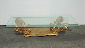 Vintage Hollywood Regency Gold Gilt Acanthus Coffee Table w a Thick Glass Top