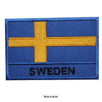 Sweden National Flag Embroidered Patch Iron on Sew On Badge For Clothes Bags etc