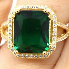 Gorgeous 8 Ct Green Emerald Moissanite Ring Women Engagement Jewelry Size 6.5