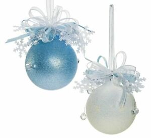 Weiste Christmas Tree Decorations Set of  2 - Blue Frosted & White Glitter Baubl