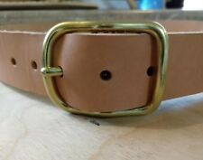 Leather belt, solid brass, handmade in USA.