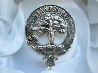 Vintage Scotland DB Silver Tone Clans Man Buckle Belt Scottish Brooch Kilt Pin
