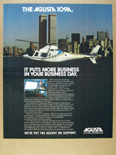 1981 Agusta A109 AW109 Helicopter manhattan wtc towers photo vintage print Ad